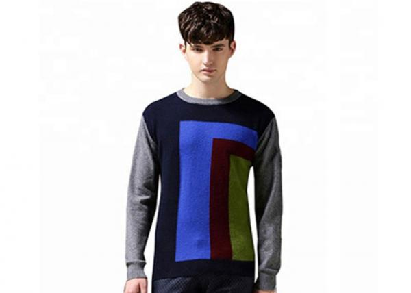 Quality 100% Cotton Mens Knit Sweater Jumper Muti Color 12 Gauge Intarsia Knitting for sale