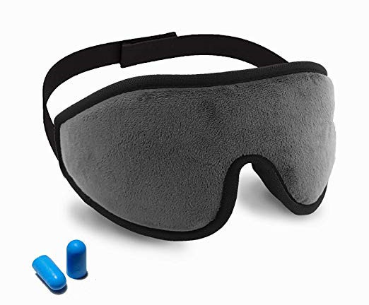 Quality Lightweight Memory Foam Eye Mask With Ear Plugs / Adjustable Strap for sale