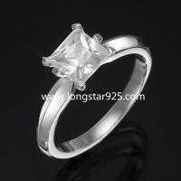 China 925 silver single stone cz rings, wedding rings, engagement rings wholesale