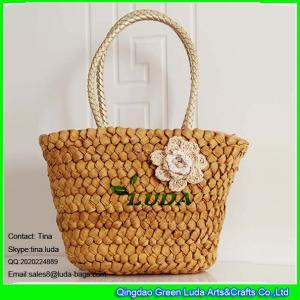 China LUDA handwoven cornhusk straw handbag with crochet flower wholesale