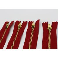 China Normal Brass Teeth 7 Inch Jeans Metal Zipper Red Polyester Tape Semi - Lock Slider wholesale