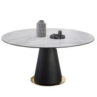 China Metal Base Sintered Stone 75ch Height Oval Rotate Table wholesale