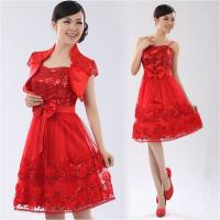 China Chiffon Strap Long Sleeve ladies dress suits for weddings , Red wholesale