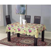 China Vinyl Tablecloth with Non-woven Back and Wave Over Locked Edge wholesale