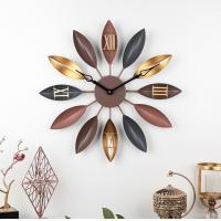 China 55cm Home creative retro leaf wrought iron decor wall clock Vintage Gold Copper Metal Wall Decorative Clock on sale