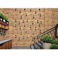 China Vinyl Coated 3D Brick Effect Wallpaper / TV Background Brick Effect Wall Coverings wholesale