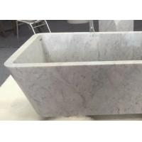 China Customized Natural Stone Tub , White Marble Bath With Grey Veins on sale