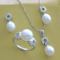 China Pearl 925 Silver Jewelry Set for Bridal, CZ Stone, Various Colors Available wholesale