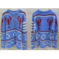 China Fancy Crew Neck Mens Jacquard Wool Sweaters for Autumn in Blue wholesale