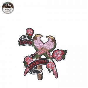 China Pink Loving Bird Iron On Patches Elegant Cartoon Animal Design Customized Logo wholesale