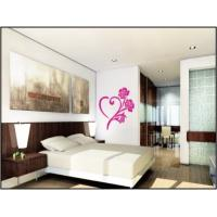 China Heart Shape Flower Nature Wall Decals With Light Color For Living Room 1m x 1m wholesale