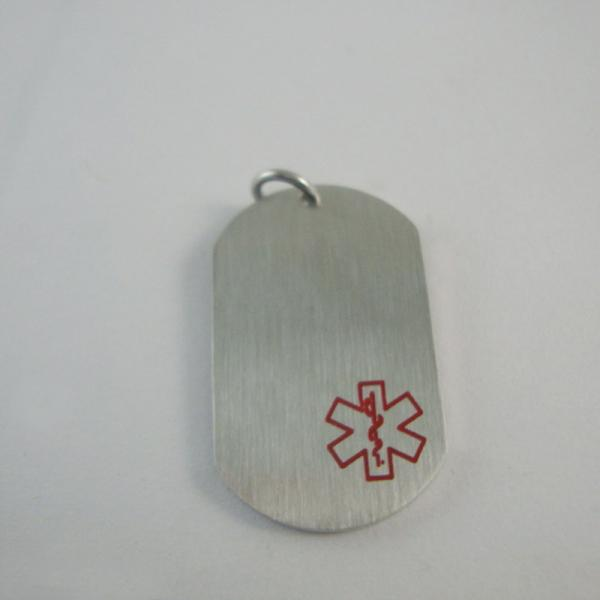Fashion dog tag stainless steel medical id tag pendant medical alert