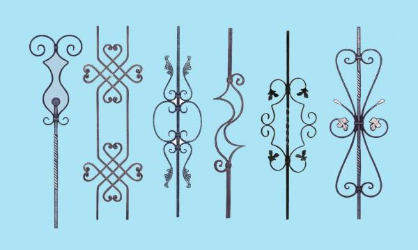 Quality Wrought Iron Elements/ Ornaments for balusters and gates--Forged balusters and newel post for sale