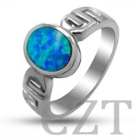 China sterling silver925 jewelry necklace ring with synthetic opal wholesale
