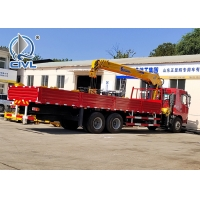 China HOWO 6x4 10 Ton Folding Boom Truck Mounted Crane Red Color,Material Is Carbon Steel wholesale