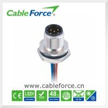 China parte posterior masculina del conector del soporte del panel M12 de la B-codificación de 60V 4A 5pin que monta el tornillo del CNC wholesale
