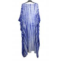 China Fashion Style Blue Color Plus Size Long Dresses With V Neck Soft Feeling on sale