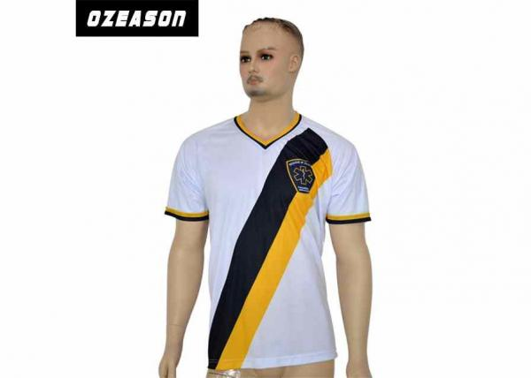 Quality OEM / ODM Logo Custom Soccer Jerseys , Youth Soccer Jerseys With V Neck Collar for sale