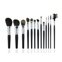 Black Professional Makeup Brush Set With Wooden Handle Face / Cheek Eyebrow
