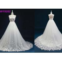China Straps Open Back A Line Wedding Dress , Long Champagne Lace A Line Wedding Dress wholesale