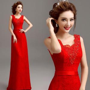 China Red Slim Wasit Tank V Neck Beading Elegant Evening Dresses TSJY063 wholesale
