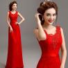Buy cheap Red Slim Wasit Tank V Neck Beading Elegant Evening Dresses TSJY063 from wholesalers