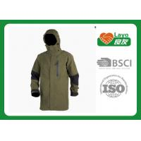 China Olive Color Waterproof Rain Jacket For Hiking / Fishing / Hunting wholesale