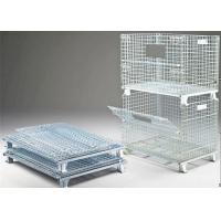 China Sliver Color Collapsible Pallet Cages , Heavy Duty Storage Cages For Sports Equipment wholesale
