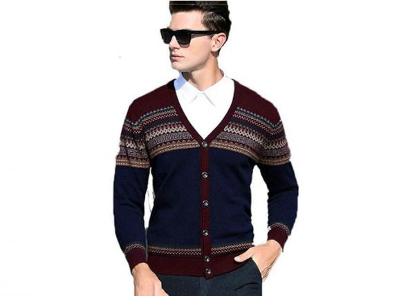 Quality Men's V Neck Wool Cardigan Sweater Mens Jumpers Woolen Sweater For Mens for sale
