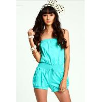 China Ladies Short Cotton Strapless Fashion Jumpsuits For Women In Neon Mint wholesale