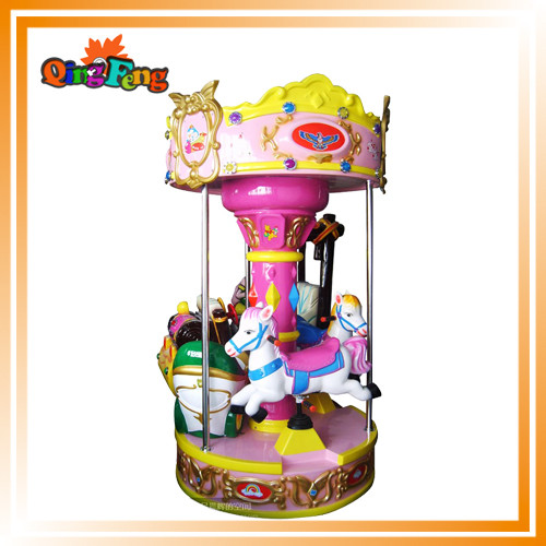 Musical mini carousel kiddie ride coin operated horse ride machine