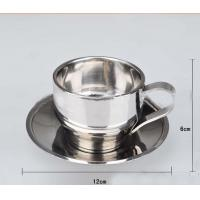 Stainless Steel Tea  Cup With Saucer Double layer Tea Mug 300ml