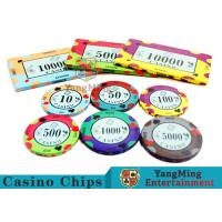 40 / 43mm Diameter Ceramic Casino Chips Bright Colors With Colors Available for sale