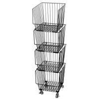 China Galvanized Treatment Vegetable Display Rack  For Supermarket With Four Baskets on sale
