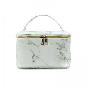 China Zipper Closure Ladies Marble PU Leather Makeup Bag Case wholesale