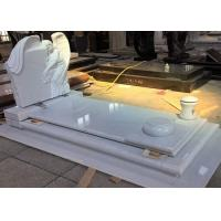 China White Pearl Monument Grave Markers , Marble Sketch Simple Headstones For Graves wholesale
