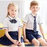 China Kids British Kindergarten Primary School Uniform White Short Sleeve Shirt Sets wholesale