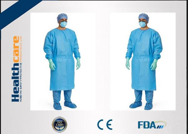 Quality Red / Green Disposable Surgical Gowns Against Liquid Biodegradable Elastic Cuff 16-80gsm for sale