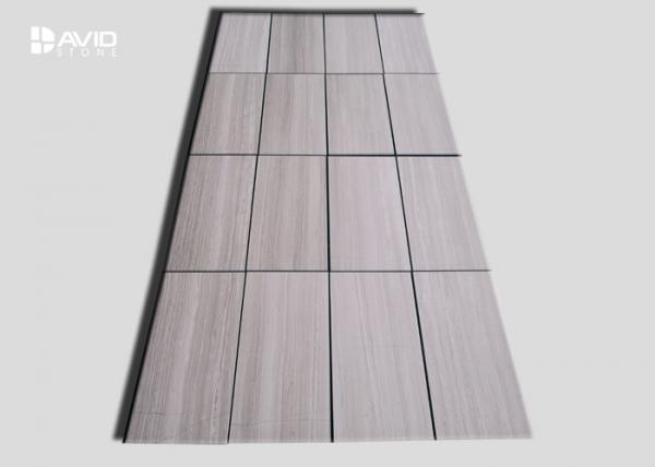 Quality White Wood Grain Polished Marble Wall Tile For Bathroom / Fireplace for sale
