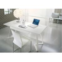 China Modern White Table Desk Wood Veneer Top , Commercial White Writing Desk With Drawers wholesale