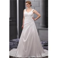 China Classic Sweetheart A Line Ruffle White Plus Size Designer Wedding Gowns With Beaded Sweep Train wholesale