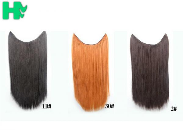 Synthetic Fibre Hair Extensions Straight Double Drawn Human Hair Wefts