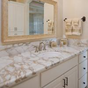 China G682 Granite Natural Stone Countertops , Granite Bathroom Countertop With Single Ceramic Wash Basin wholesale