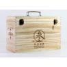 China Engraved Personalised Paulownia Wood Wine Box Hinged Lid For 6 Wine Bottles wholesale