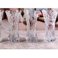 China Stock Flower Decorative Glass Vases / Transparent Small Coloured Glass Vases wholesale