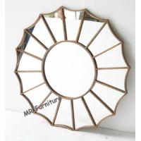 China Gold Metal And Mirror Wall Decor , Gold Metal Frame Abstract Mirror Wall Art wholesale