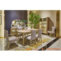 China Light luxury dining room furniture Nice wood table with Leather dining chairs for Villa home interior design furniture on sale