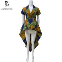 China OEM Service Mixed Color Ankara African Print Tops Short Sleeve High Low Style wholesale