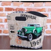 China Antique Style green cars design PU Decoration Basket faux leather small hanging basket shopping travel basket wholesale