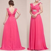 China Cap Sleeve Tiered Layered V Neckline Deep V Back Empire Waist Long Formal Evening Gown wholesale